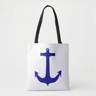 Nautical Anchor & Wheel Blue and Red Tote Bag
