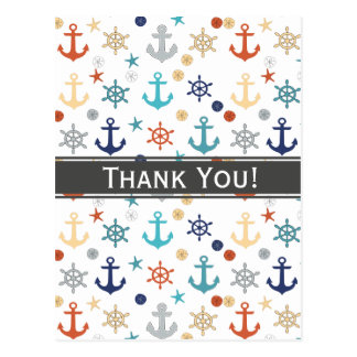 Nautical, anchor, wheel, starfish-Thank You Postcard