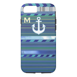 nautical anchor with blue stripes iPhone 7 case