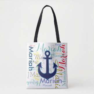 nautical anchor with colorful names tote bag