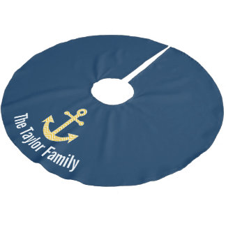 Nautical Anchor with Navy Yellow Chevron Pattern Brushed Polyester Tree Skirt
