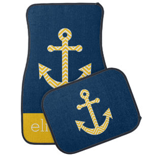 Nautical Anchor with Navy Yellow Chevron Pattern Car Mat