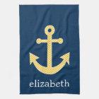 Nautical Anchor with Navy Yellow Chevron Pattern Kitchen Towel