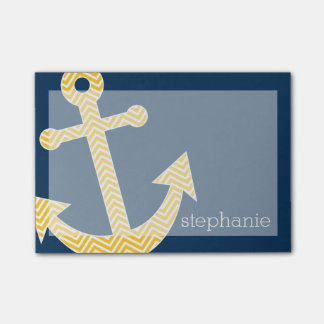 Nautical Anchor with Navy Yellow Chevron Pattern Post-it Notes