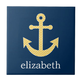 Nautical Anchor with Navy Yellow Chevron Pattern Tile