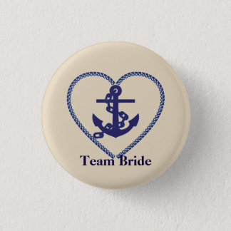 Nautical Anchor with Rope Heart Wedding Team Bride 1 Inch Round Button