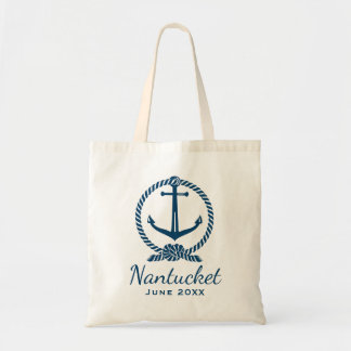Nautical Anchor with Rope Knot | Navy Blue Tote Bag