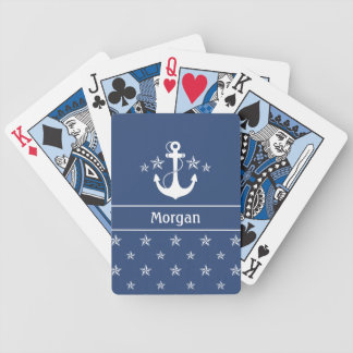 Nautical Anchor with Stars Bicycle Playing Cards
