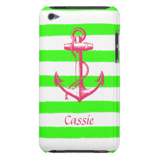 Nautical Anchor with Summer Neon Green Stripes iPod Touch Cover