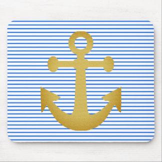 Nautical-Anchor-Yacht-Stripes-Blue_Golden-IIUnisex Mouse Pad