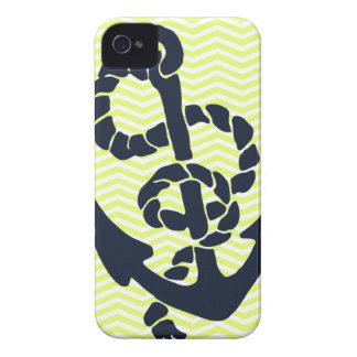 Nautical Anchor Yellow Chevron iphone 4 4S case