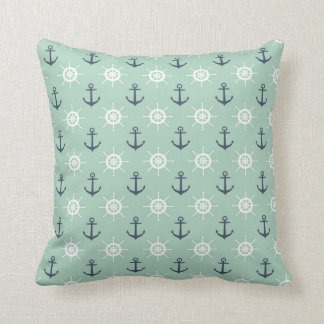 Nautical Anchors and Helms Throw Pillow