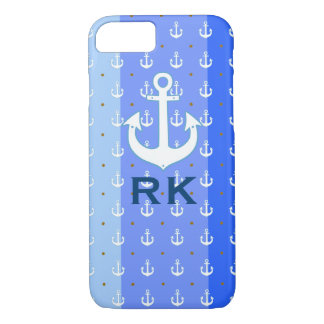 nautical anchors and initials iPhone 7 case