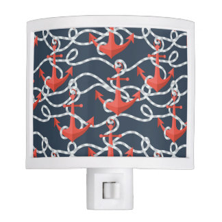 Nautical Anchors And Rope Pattern Nite Light