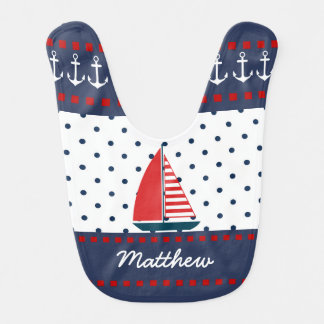 Nautical Anchors and Sailboat Baby Bib