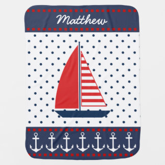 Nautical Anchors and Sailboat Baby Blanket