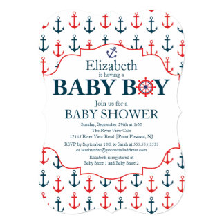 "Nautical Anchors Away Boys Baby Shower 5"" X 7"" Invitation Card"