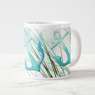 Nautical Anchors Beach Ocean Seaside Coastal Theme Large Coffee Mug