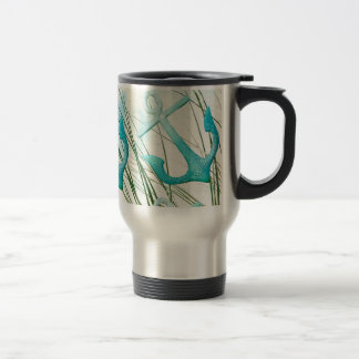 Nautical Anchors Beach Ocean Seaside Coastal Theme Travel Mug