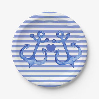 Nautical Anchors & Haert | Navy Striped Paper Plate