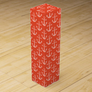 Nautical Anchors in Coral Pink Pretty Pattern Wine Bottle Boxes