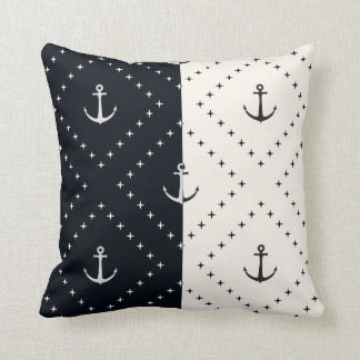 Nautical Anchors in Diamonds Cream and Black Throw Pillow