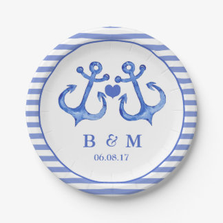 Nautical Anchors Monogram Navy Striped Paper Plate