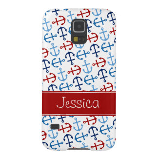 Nautical Anchors Navy Blue Red Personalized Galaxy S5 Cases