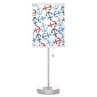 Nautical Anchors Navy Blue Red Table Lamp