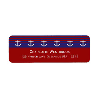 Nautical Anchors on Classic Stripe Personalized Return Address Label