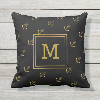 Nautical Anchors Pattern Black and Gold Monogram Outdoor Pillow