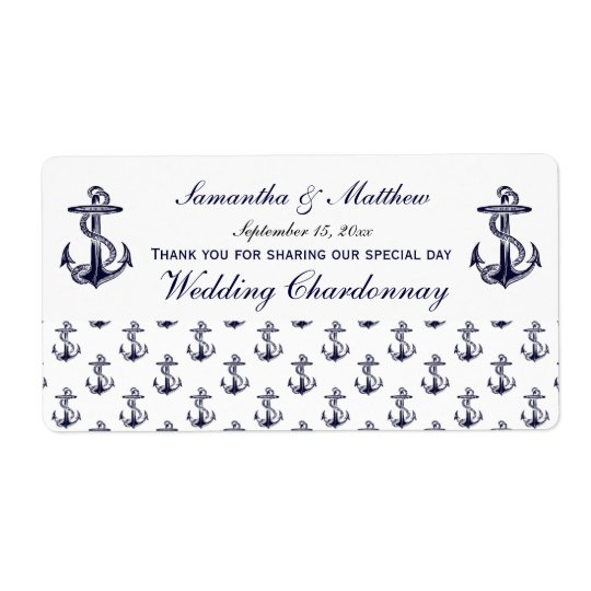 Nautical Anchors Pattern Wine Label Shipping Label