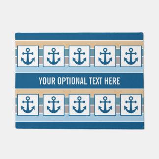 Nautical Anchors & Stripes custom door mats Doormat
