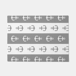 Nautical Anchors Stripes Grey White Doormat