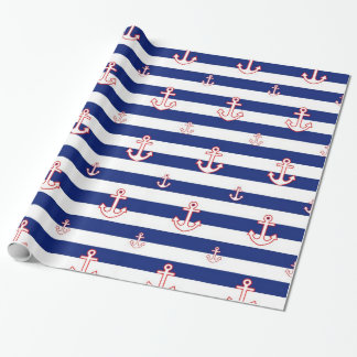 Nautical Anchors & Stripes Wrapping Paper