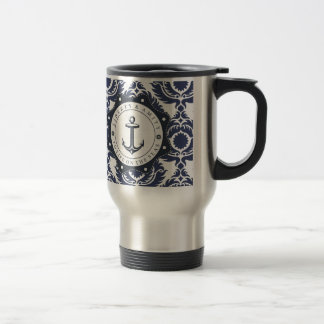 Nautical and blue and white Damascus reason, Travel Mug