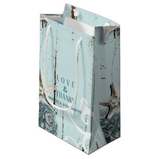 nautical aqua blue seashell beach wedding small gift bag