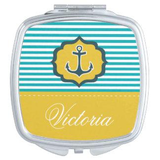 Nautical Aqua Blue Yellow Stripes Anchor Custom Mirrors For Makeup