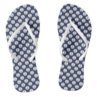 Nautical Aqua / White and Navy Blue Anchor Flip Flops