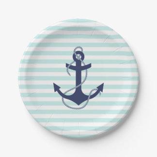 Nautical Aqua & White Stripes Navy Blue Anchor Paper Plate