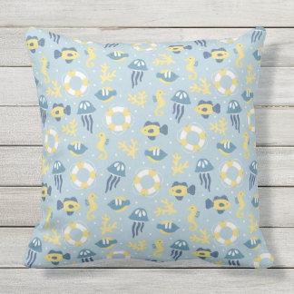 Nautical Aquatic Design Throw Pillow