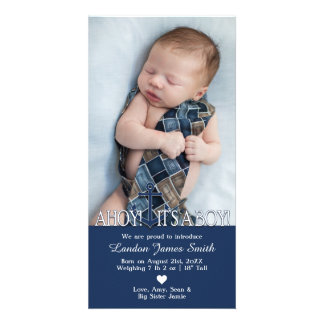 Nautical Baby Boy Birth Announcement with Photo Card