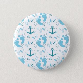 Nautical baby boy blue pattern 2 inch round button