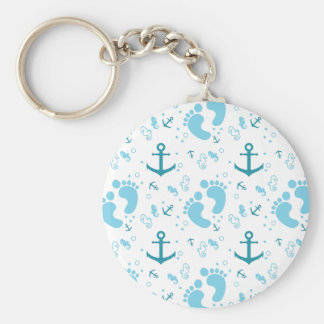 Nautical baby boy blue pattern keychain