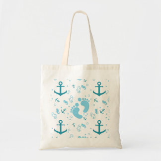 Nautical baby boy blue pattern tote bag