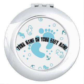 Nautical baby boy blue pattern vanity mirrors
