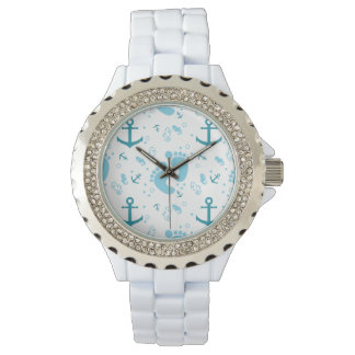 Nautical baby boy blue pattern watch
