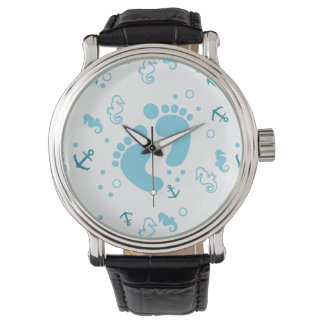 Nautical baby boy blue pattern watch