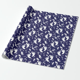 Nautical baby boy blue pattern wrapping paper