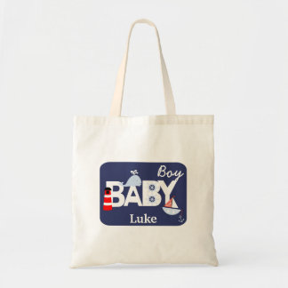 Nautical Baby Boy Personalized Tote Bag